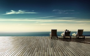Picture the ocean, stay, serenity, people, chairs, terrace, infinity, the vastness
