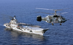 Wallpaper Ka-29, aircraft carrier, Heavy, helicopter, cruiser, Admiral Kuznetsov, sea