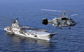 Wallpaper sea, helicopter, cruiser, Heavy, Ka-29, aircraft carrier, Admiral Kuznetsov