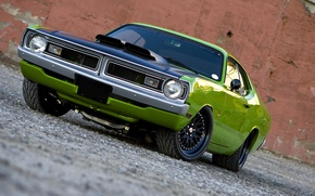 Picture machine, power, drives, Green, the front, Tuning, Usa, Muscle Car, Plymouth Duster