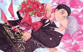 Picture flowers, anime, art, guys, Yuri on Ice, Viktor Nikiforov, Yuri Katsuki