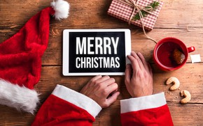 Picture New Year, Christmas, gifts, Christmas, wood, Merry Christmas, Xmas, decoration, gifts, santa hat, holiday celebration