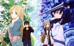 Picture anime, art, sword art online, Asuna, Kirito