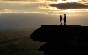 Picture two, rock, the evening, girl, guy, Peak District, height