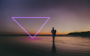 Picture Beach, Neon, People, Triangle, Purple, Glow