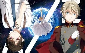 Picture space, earth, tie, guys, cloak, art, military uniform, white shirt, asseylum vers allusia, slaine troyard, …