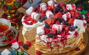 Picture berries, raspberry, tea, blueberries, strawberry, cake, samovar, pancakes, BlackBerry, marshmallows