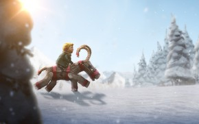 Picture blizzard, snow, boy, animated film, scarf, animated movie, Get Santa