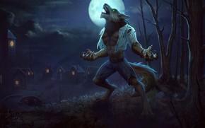 Picture the moon, fantasy, art, the full moon, werewolf, Jon Neimeister, Fenrir Wolfman