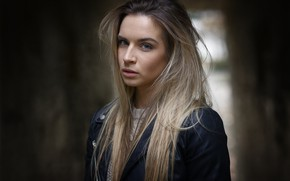 Picture look, girl, background, model, portrait, makeup, jacket, hairstyle, blonde, black, beautiful, bokeh, kozhanka