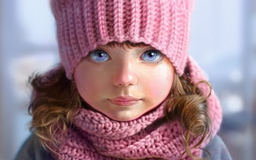 Wallpaper knitted, pink, scarf, art, grey background, hat, face, Nutsa, blue eyes, freckles, girl, portrait