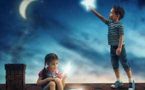 Picture roof, the sky, stars, night, children, house, the moon, boy, girl, moon, house, friends, night, …