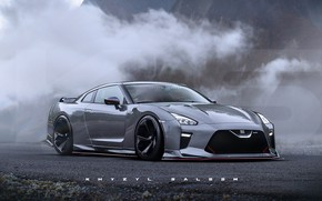 Picture asphalt, mountains, fog, car, GT-R36