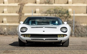 Picture Auto, Lamborghini, White, Machine, Eyelashes, 1971, Lights, Car, Sexy, Supercar, The front, Lamborghini Miura, P400, …