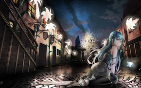 Picture girl, flowers, the city, street, anime, art, song