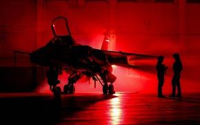 Wallpaper Jaguar, hangar, pilots, fighter-bomber, SEPECAT
