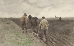 Picture figure, watercolor, Anton Mauve, The Farmer Plows