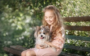 Picture bench, laughter, dog, girl