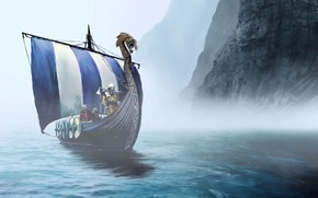 Wallpaper warrior, viking, bolt, sea, weaponshield, Expeditions Viking, shield, montain