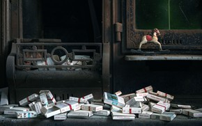 Picture garbage, fireplace, stuff, horse, 1 0 : 2 0, cigarette packs