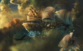 Picture fantasy, sky, clouds, artwork, concept art, fantasy art, Steampunk, sails, cannons, airships, flying boats