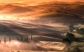 Picture fog, hills, Italy, Tuscany