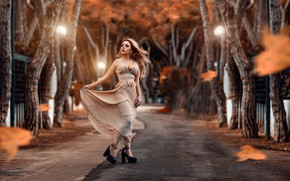 Picture road, autumn, leaves, girl, trees, pose, mood, dress, Alessandro Di Cicco