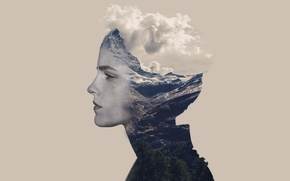 Picture girl, emma watson, cloud, mountain, tree, photoshop, actress, edit