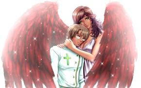 Picture girl, wings, angel, hugs, guy