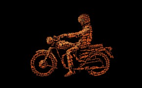 Picture collage, vector, bike, motorcyclist