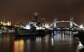 Wallpaper lights, HMS Belfast, London, the building, Tower Bridge, the city