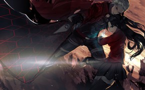 Picture girl, weapons, Rin, Archer, Fate stay night, Fate / Stay Night, date