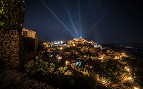 Picture the sky, mountains, night, lights, France, home, stars, rays of light, floodlight, Gordes