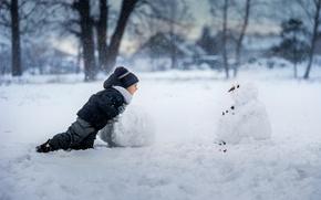 Picture joy, boy, snowman