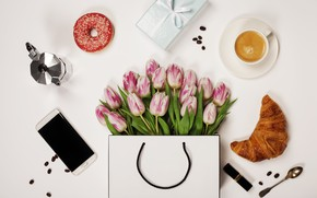 Picture flowers, Coffee, gifts, tulips, phone, Holiday, Donut