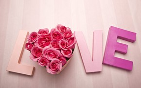 Wallpaper Valentine's day, the word, roses, love, Valentine's day, heart