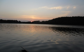 Picture summer, water, sunset, lake, the evening