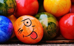 Wallpaper decoration, colorful, Easter, Easter, funny, Happy, the painted eggs, smile, rainbow, eggs
