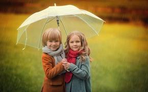 Picture autumn, children, umbrella, boy, girl