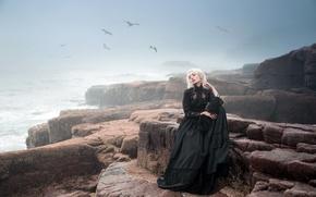 Wallpaper sea, girl, fog