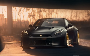 Wallpaper black, Nissan, Parking, Nissan, GT-R, sports car, front, the front, sunlight, R35, yellow discs, Mikhail ...