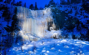 Picture ice, winter, snow, waterfall, Finland, Korouoma