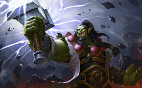 Wallpaper art, hammer, fantasy, Orc, Simple Wang WHB