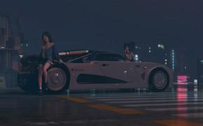 Picture road, machine, night, girls, car