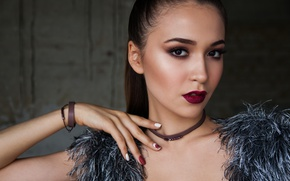 Picture look, girl, face, pose, hand, portrait, makeup, brunette, hairstyle, beauty, bokeh