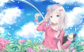 Picture the sky, girl, flowers, anime, art, EroManga-Sensei