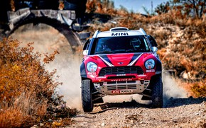 Picture Red, Mini, Sport, Speed, Race, Lights, Rally, SUV, Rally, The front, X-Raid Team, MINI Cooper, …