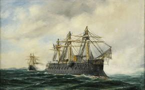 Wallpaper Marint motiv, battleship, Sea, Herman Gustav Sillen, flag of France