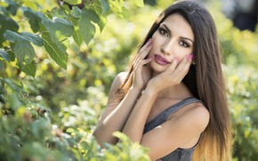 Picture eyes, look, face, model, hair, lipstick, lips, Daniela
