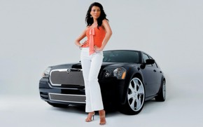 Picture look, background, Girls, Dodge, beautiful girl, black car